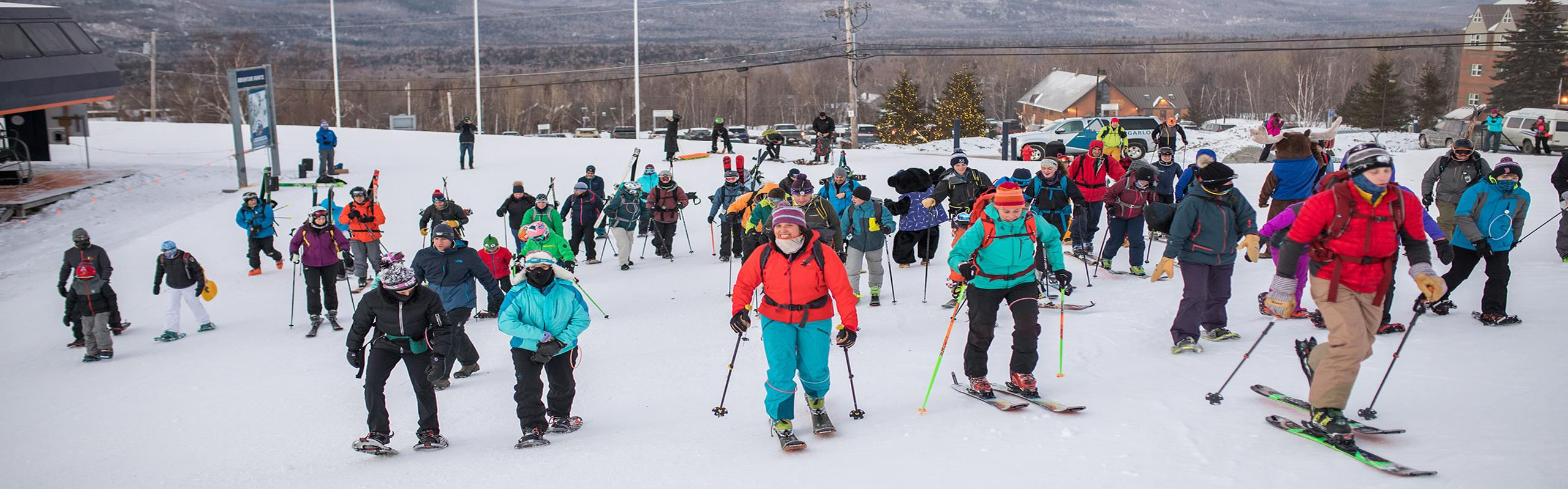 Skiers preparing to Climb for a Cure